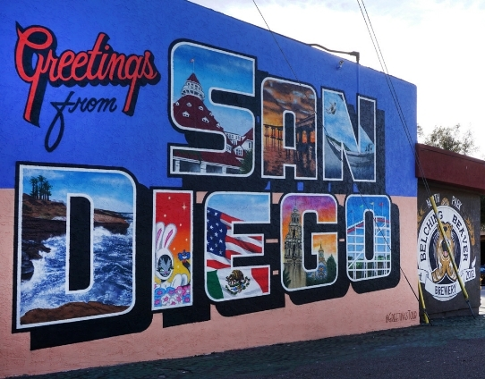 Greetings from San Diego 30ECB Postcard Mural The Boulevard BIA